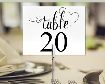 Wedding Table numbers, Printable Party Table numbers, use flat or tented, Instant download, PDF C118