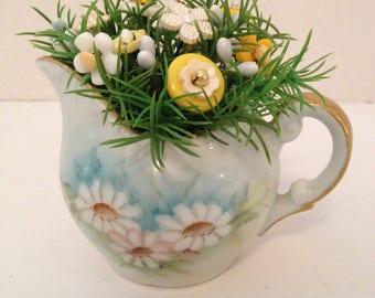Vintage Button Bouquet tucked in Daisey Creamer-Spring Home decor