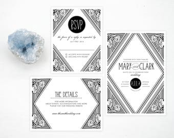 Printable Art Deco Invitation Suite