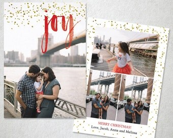 Christmas Card Template, Photoshop Template, Holiday Photo Card, Watercolor Overlay Joy,  Red and Gold, Instant Download