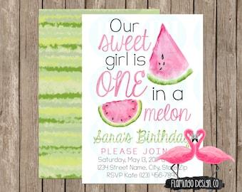One in a melon - Watermelon Birthday Invitation (digital & card stock)
