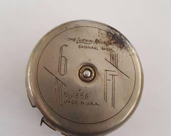 Vintage Art Deco Lufkin Wizard Jr. No. 1686 6 ft steel tape measure 1930's styling