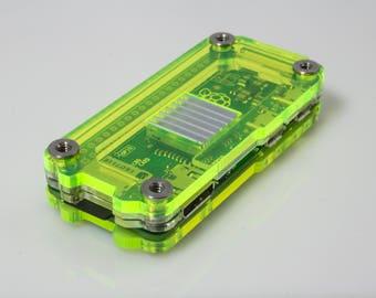 Zebra Zero Raspberry Pi Zero Case, Original and Zero W ~Laser Lime with Heatsink