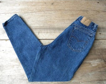 Size 30 Vintage High Waisted Levi's Jeans / Dark Acid Wash Jeans / Made in USA / Relaxed Fit Tapered Leg / Women's 30 in Waist