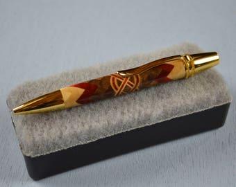 Polaris Twist, Segmented Wood Pen, Herringbone 360 design, Celtic Knot