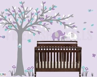 Blowing tree wall decal, baby elephant wall decal, Nursery Wall Decal, Elephant, Purple & Turquoise Bliss Scene / Grey Tree