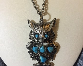 Vintage OWL TURQUOISE Necklace 24""