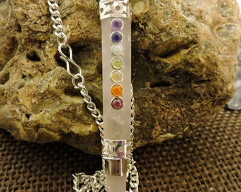 7 Chakra Faceted ROSE QUARTZ Wand With Rose Quartz ball and point~ Necklace or Pendulum ~ 6o% of SALE + Reduced S/H