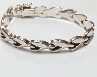 "Vintage STERLING SILVER 7"" Unique Link Bracelet GORGEOUS!"
