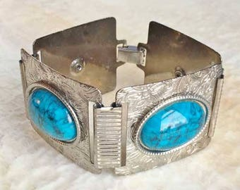 Circa 1970s, Turquoise & Etched Silver Toned, Linked Bracelet