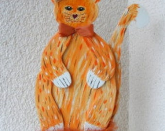 Wooden cat - decoration,