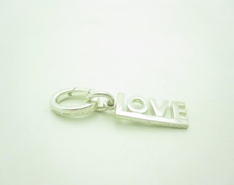 Tiffany & Co. Sterling Silver LOVE Charm with Spring Hook For Bracelet
