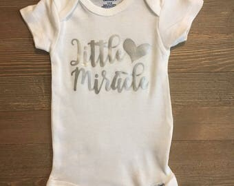 Little Miracle baby onesie ComingHomeOutfit//Heart//WorthTheWait//Love