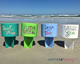 Cheeky Beach Phrase Drink Spiker - Drink Holder with Preppy Pattern - Great for wedding parties, beach weekends, family reunions and more!