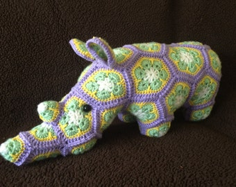 Rhino stuffed animal, Granny square rhino toy (Made to order, any colors!)