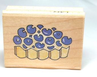 Vintage Beryy Torte Rubber Stamp by Stampa Rosa Stamp Marna , Blueberry stamp, Blueberry Pie Stamp, Blueberry rubber Stamp  Dessert STamp,