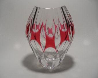 Vintage crystal glass vase,Vintage collectible glass art,sixties crystal vase