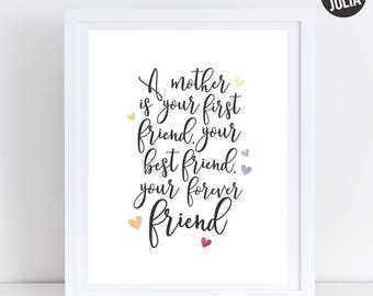 Mother's Day Print Gift / Mom Gift / Mom is my Best Friend Print / Mom Quote / Gift for Mom / Decor for Mom / Printable / Instant Download