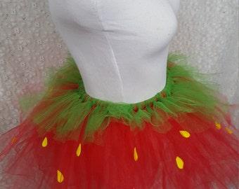 Strawberry Tutu Set, CHILD Strawberry Costume, Fruit Costume, Party Tutu, Halloween Costume, Photo Prop Tutu, Cake Smash Tutu, Ballet Tutu