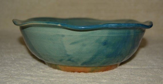 Bowl, Serving Dish, Salad Bowl, Pasta Bowl,  Altered Rim, Waves, Blue, Brown, Kitchen, Stoneware, Ceramic