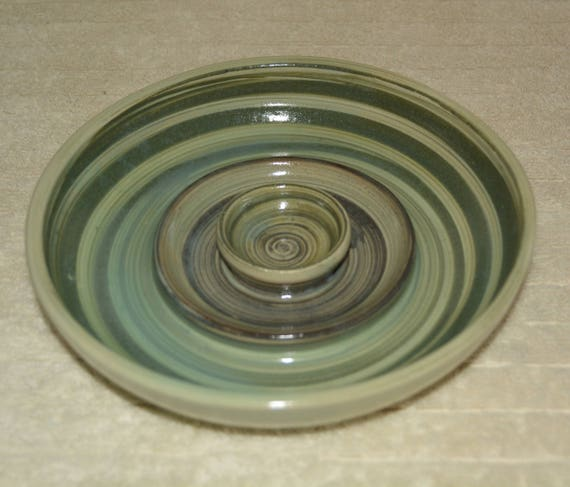 Pet Dish, Dog Bowl, Cat Bowl, Green, Blue, Mint, Pet Food Dish, Pet Water Bowl, Stoneware, Ceramic, Swirls, Ringed