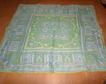 """Vintage Green Multicolored Scarf 24"""" x 24"""" Crepe Like Fabric"""
