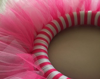 Hot Pink and White Tulle Wreath