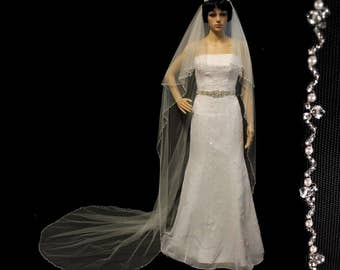 TwoTier Bridal Wedding Veil with Beaded Pearl  Edge