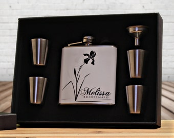6 Bridesmaid Gifts, Personalized Flask Gift Sets for Bridesmaids
