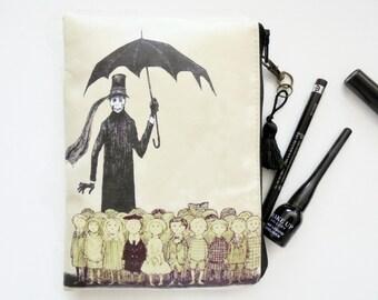 Edward gorey, dark vintage, mid century, waterproof wallet/Tampon case/Discreet Pouch/make-up/glasses