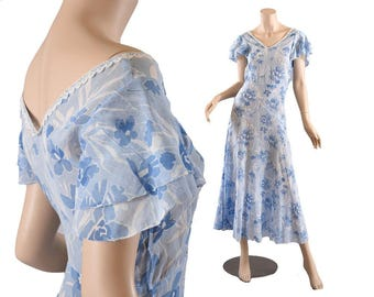 1920s - 30s Blue Floral Cotton Voile Afternoon Dress