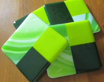 "Fused Glass Coasters - Glass Coasters - Home Decor - Protective Feet - Measures 4"" x 4"""