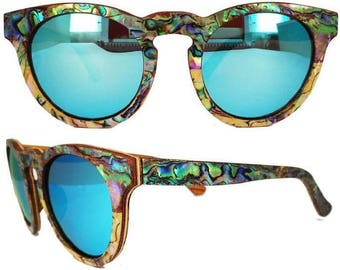 Abalone Mother of Pearl Wood Sunglasses - Zebrawood / Mother of Pearl layered sunglasses - Polarized