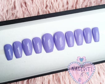 NAILED IT! Hand Painted False Nails - Lilac
