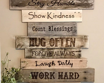 Family Rules Sign Wood Sign Family Art Rustic Wall Decor Farmhouse Decor