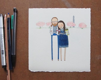 custom couple portrait + simple scenery | hand drawn personalized wedding gift. engagement. anniversary gift. birthday gift. best friend