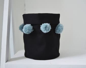 small storage basket/ cute fabric storage basket with pompom decoration/ black and baby blue home decor/ nursery decor