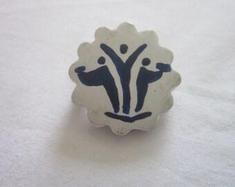 Vintage Hard Composition Stick Figure Brooch