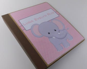 Girl baby book Modern Baby Memory Book Elephant Pink Polka Dot 8.5x11 binder Pregnancy Journal personalized baby shower gift 558
