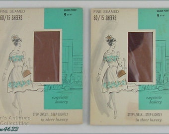 Two Pairs Vintage Seamed Stockings Seamed Nylons Size 9 Mint in Package Dated 1962 (Inventory #M4633)