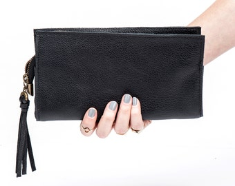 Black Leather Wallet, Women Leather Clutch, Christmas gift for her, Leather purse, Black pouch, Sale
