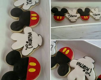 Mickey Mouse Ear and personalized Hands Cookies