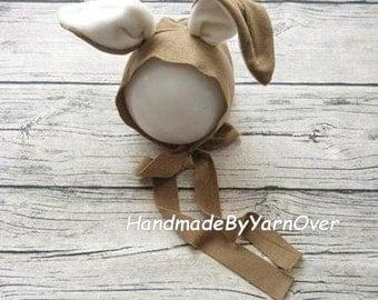 Fabric Bunny bonnet. Bunny Hat, Easter, Rabbit,   Newborn Hat, Newborn Photo Prop.