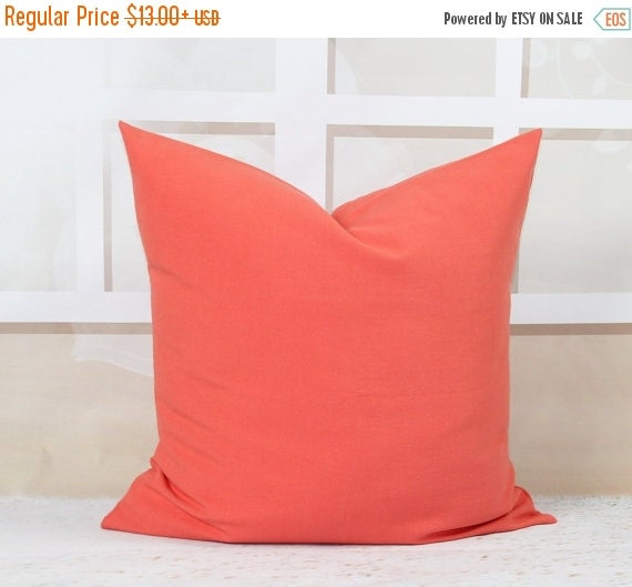 Solid Coral Throw Pillows : SALE Coral Pillows Solid Coral Decorative by HomeDecorPillows