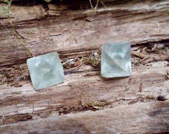 Raw Fluorite Studs Earrings Sterling Silver Geometric Aqua Blue Green Crystal Healing Gemstone Crystal Jewelry