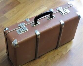 Antique Suitcase Case Luggage KAZETO Czechoslovakia Bakelite Handle 1940