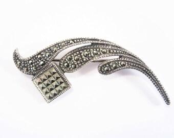 Vintage Sterling Marcasite Brooch Pin