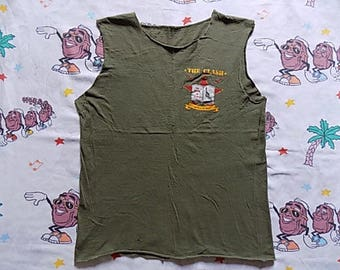 Vintage 80's The Clash North American Campaign 1982 cut off Tank Top, size Small Know Your Rights punk new wave