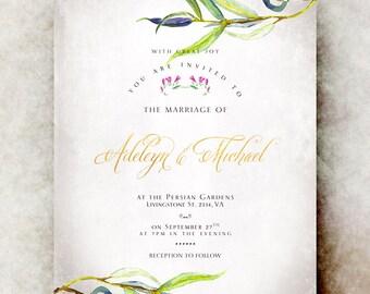 Green Wedding Invitation printable - Leaf wedding invitation, elegant wedding invitation, romantic wedding invitation