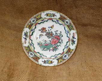 Rose Medallion Plate, Hand Painted Antique Japanese Rose and Butterfly